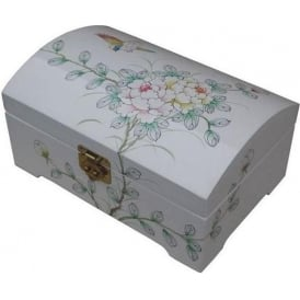 White Lacquer Jewellery Box with Chinese Lock