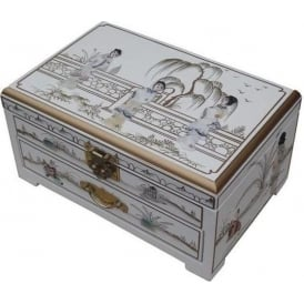 White Lacquer MOP Jewellery Box with Chinese Lock