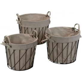 Wire And Linen Baskets