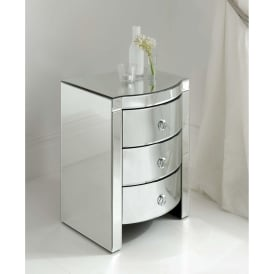 Florence Mirrored Bedside 3 Drawer