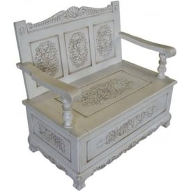 Handcarved Antique French Style Bench with Storage