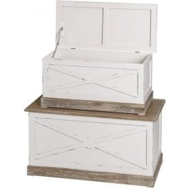 New England Shabby Chic Blanket Boxes