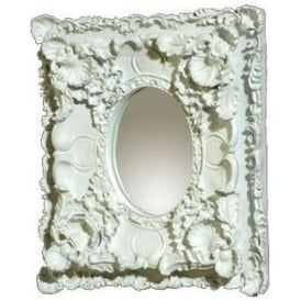 Antique French Style White Double-Frame Oval Mirror