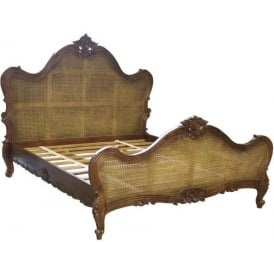 Louis Single Panel Rattan Antique French Style Bed