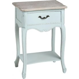 Duck Egg Shabby Chic Bedside Table With Shelf