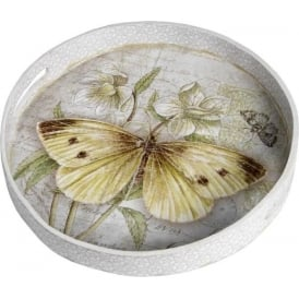 Vintage Butterfly Rund Tray
