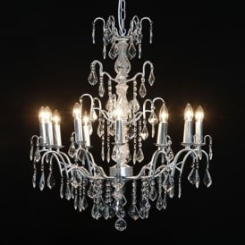 12 Branch Silver Antique French Style Chandelier