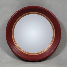 Deep Red Framed Convex Mirror