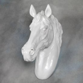 Bright White Large Horse Wall Head
