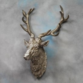 Large Antique Silver Stag Wall Head