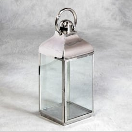 Square Polished Steel And Glass Lantern