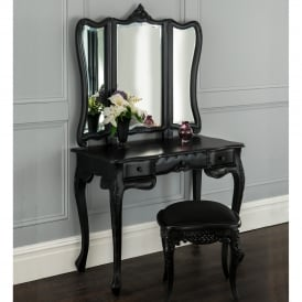 La Rochelle Black Antique French Dressing Table Set
