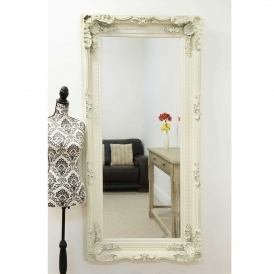 Carved Ivory Louis Antique French Style Mirror