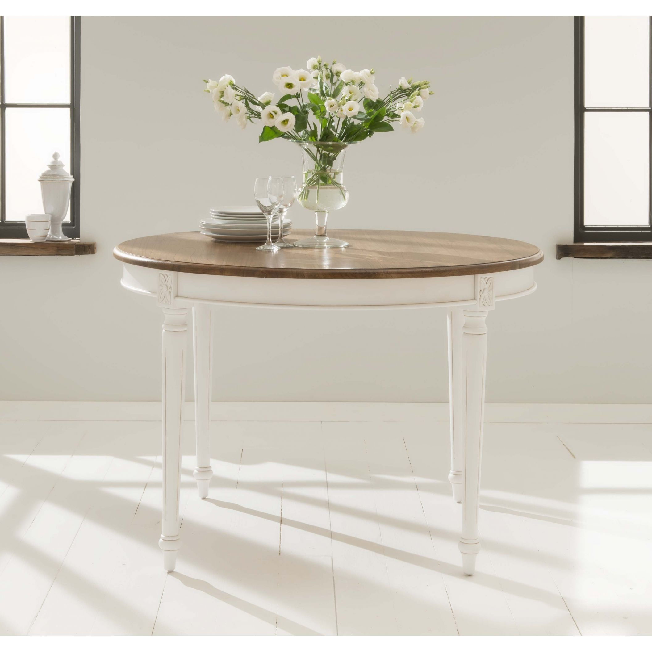 Antique french style round dining table for French dining table