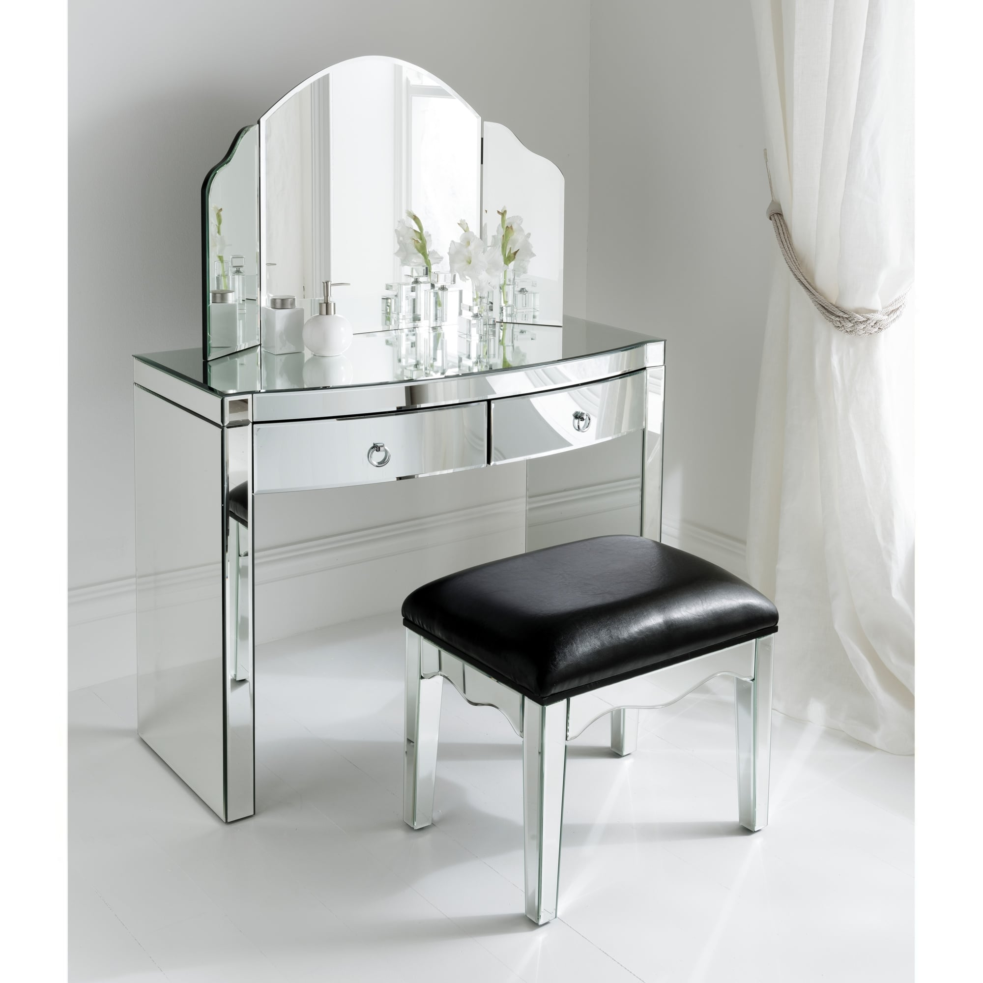 Florence mirrored dressing table set for Vanity dressing table