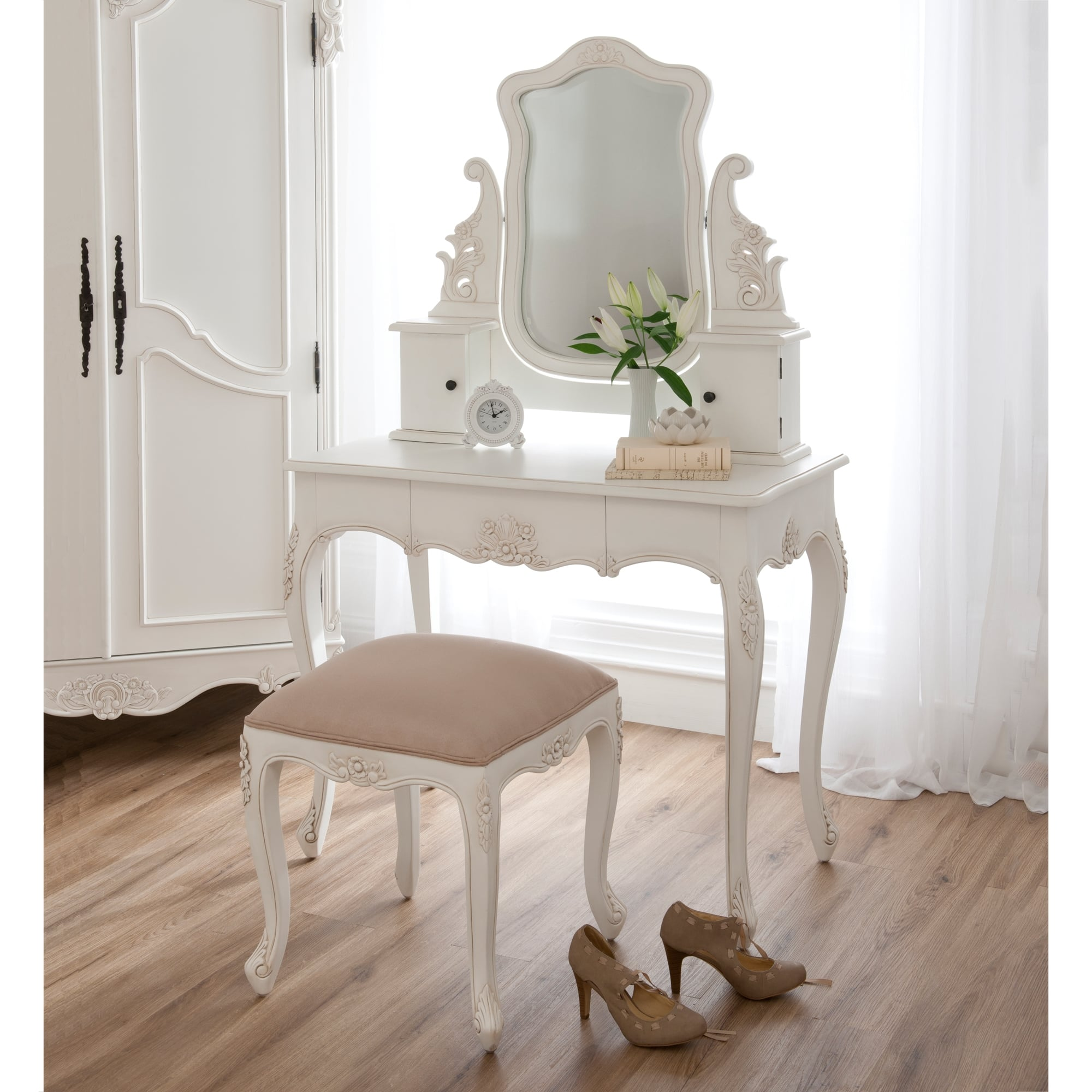 Baroque antique french white dressing table set for French white dressing table