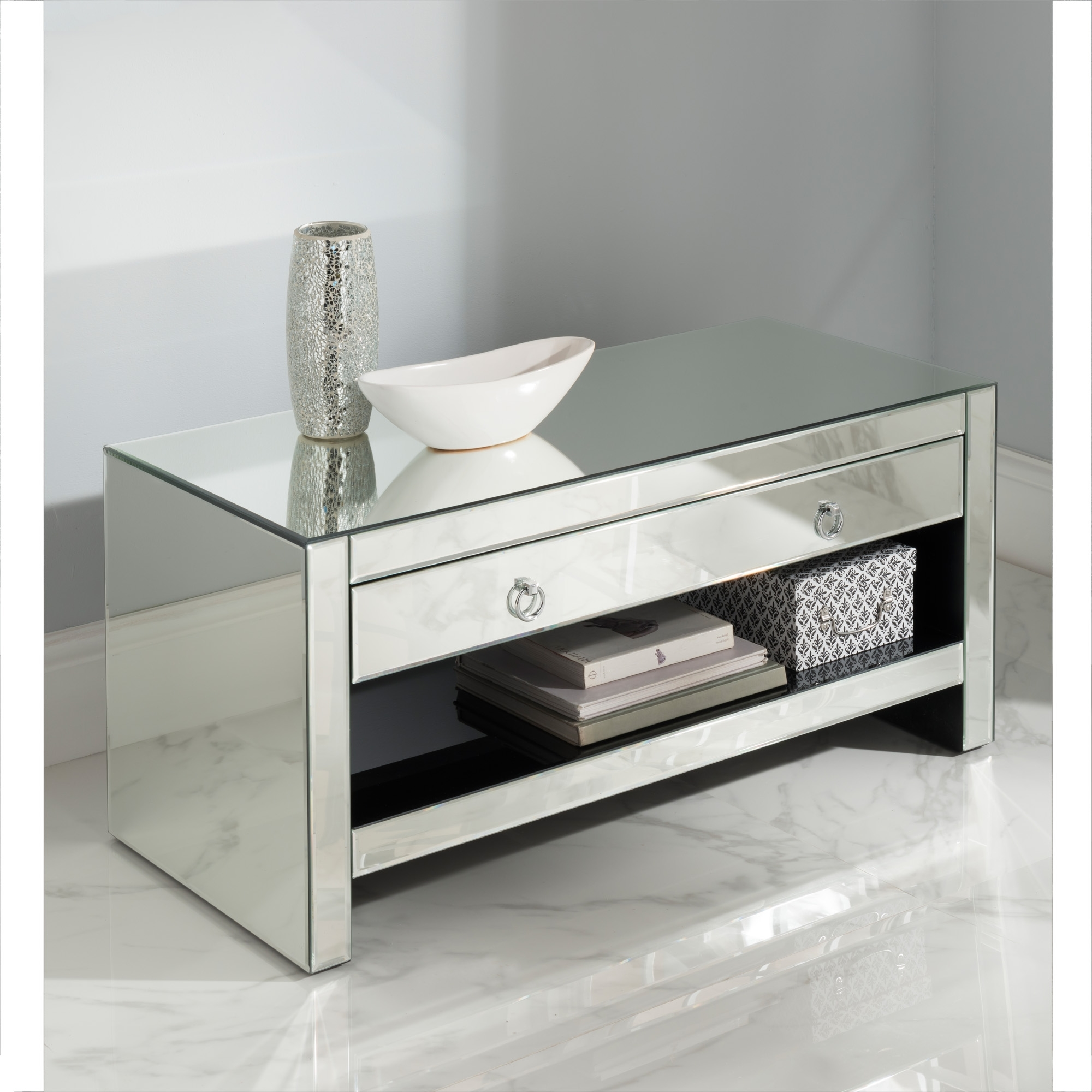Mirrored Tv Cabinet Glass Venetian Furniture