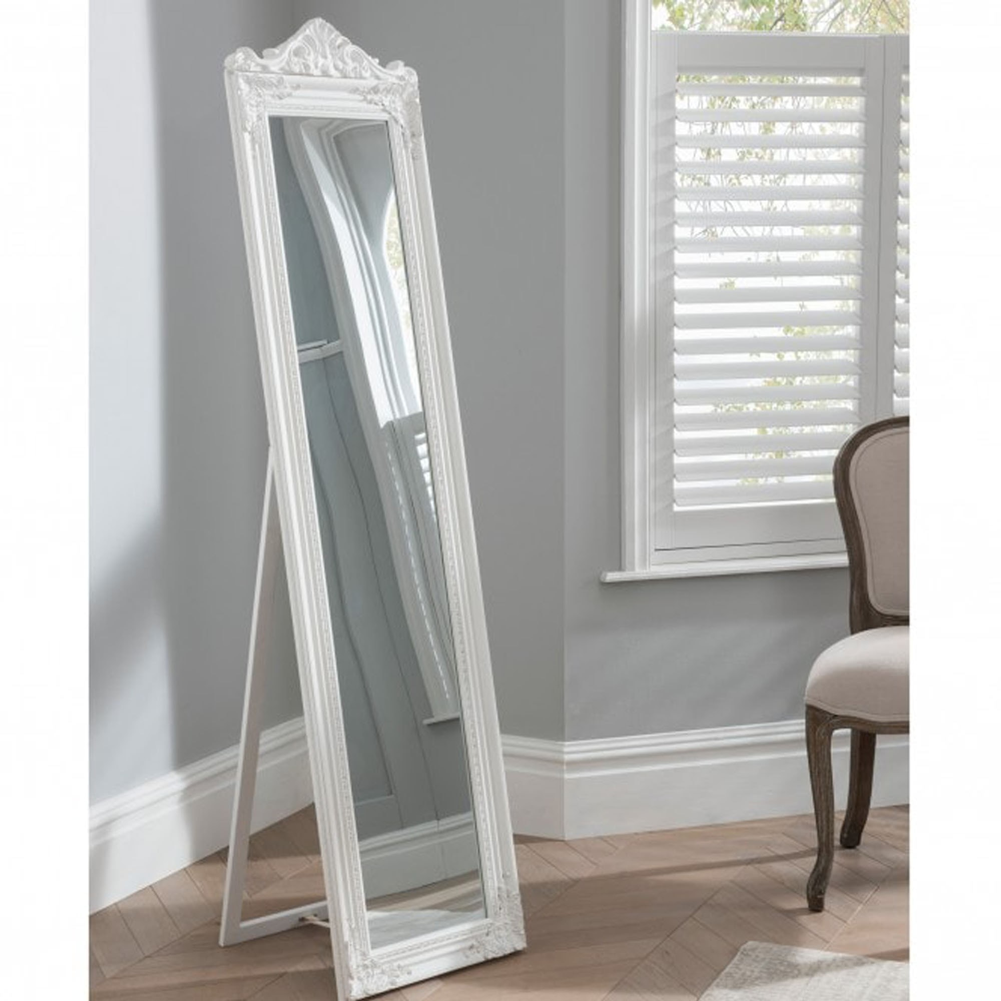 Full Length Mirror In White The Elizabeth Floor Standing Mirror
