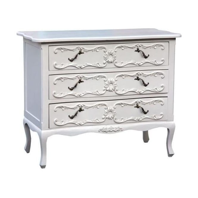 Pure White Antique French Style Chest Of Drawers