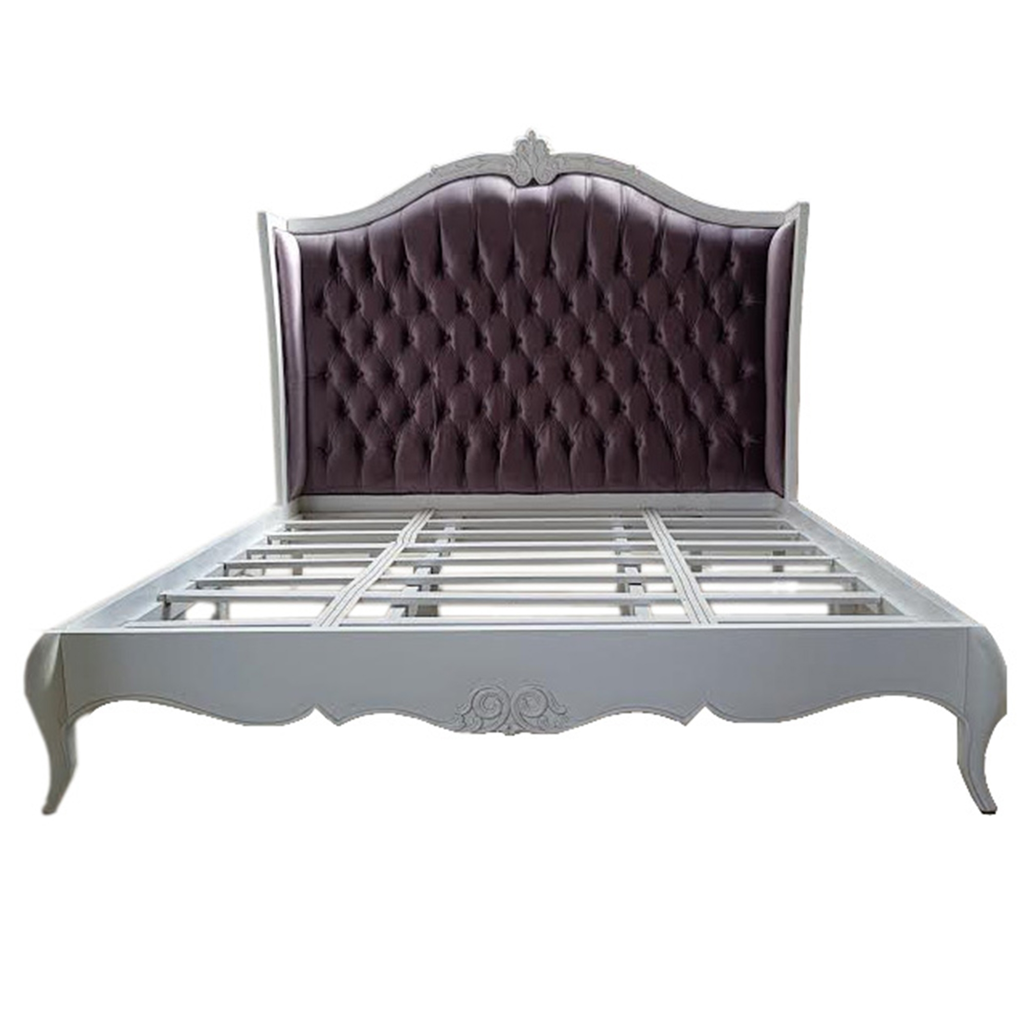 Purple Antique French Style Crushed Velvet Bed French Style Bedroom