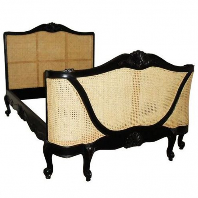 Rattan Black Red Rub Antique French Style Bed