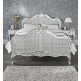 Rattan Estelle Silver Antique French Style Bed