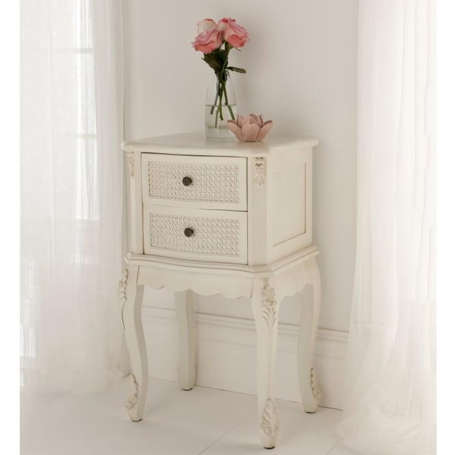 rattan shabby chic antique style bedside table shabby