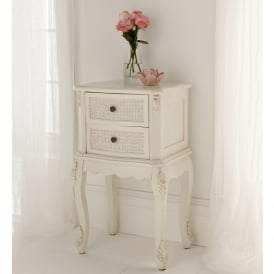 Rattan Shabby Chic Antique Style Bedside Table