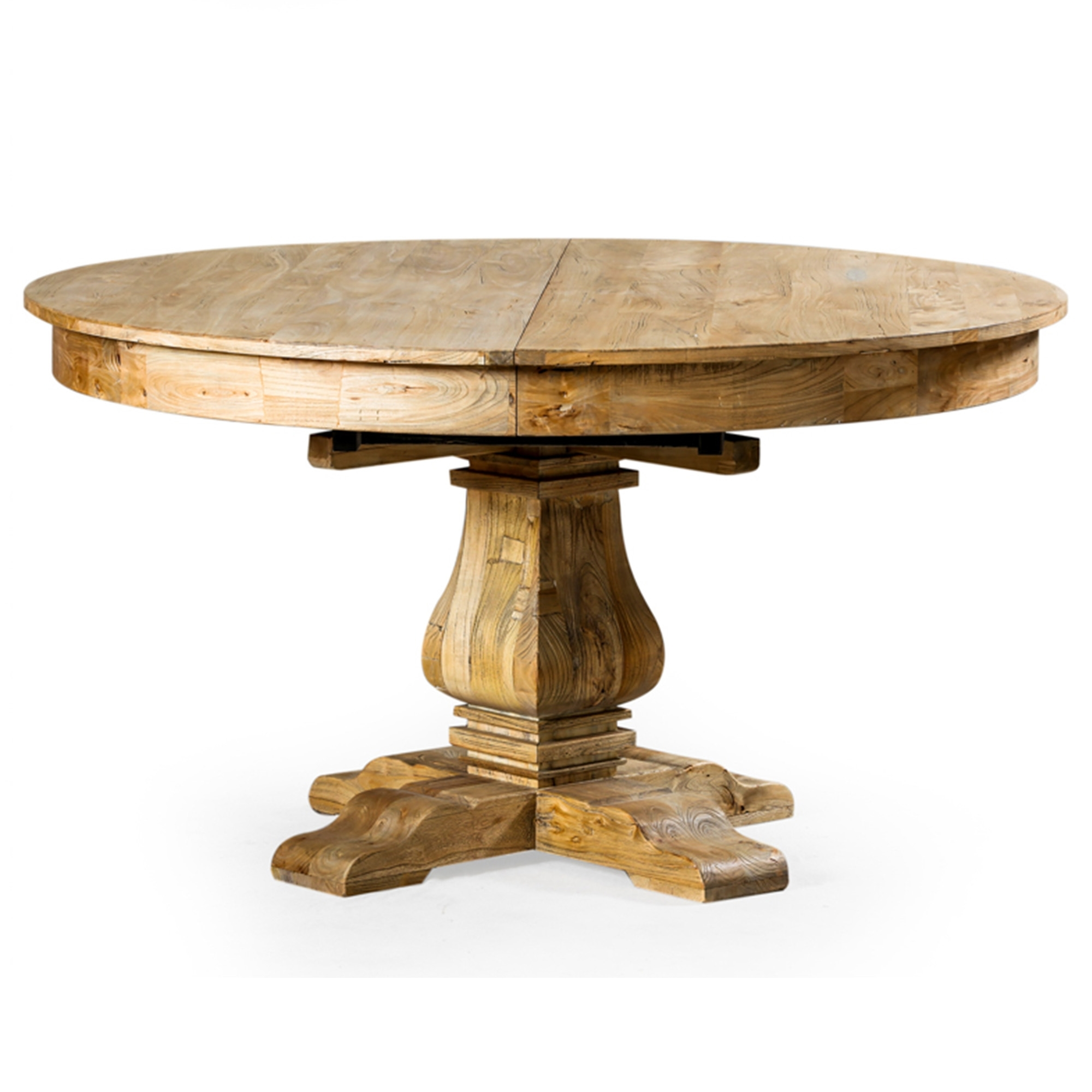 Reclaimed Elm Round Extending Dining Table Wooden Dining Tables