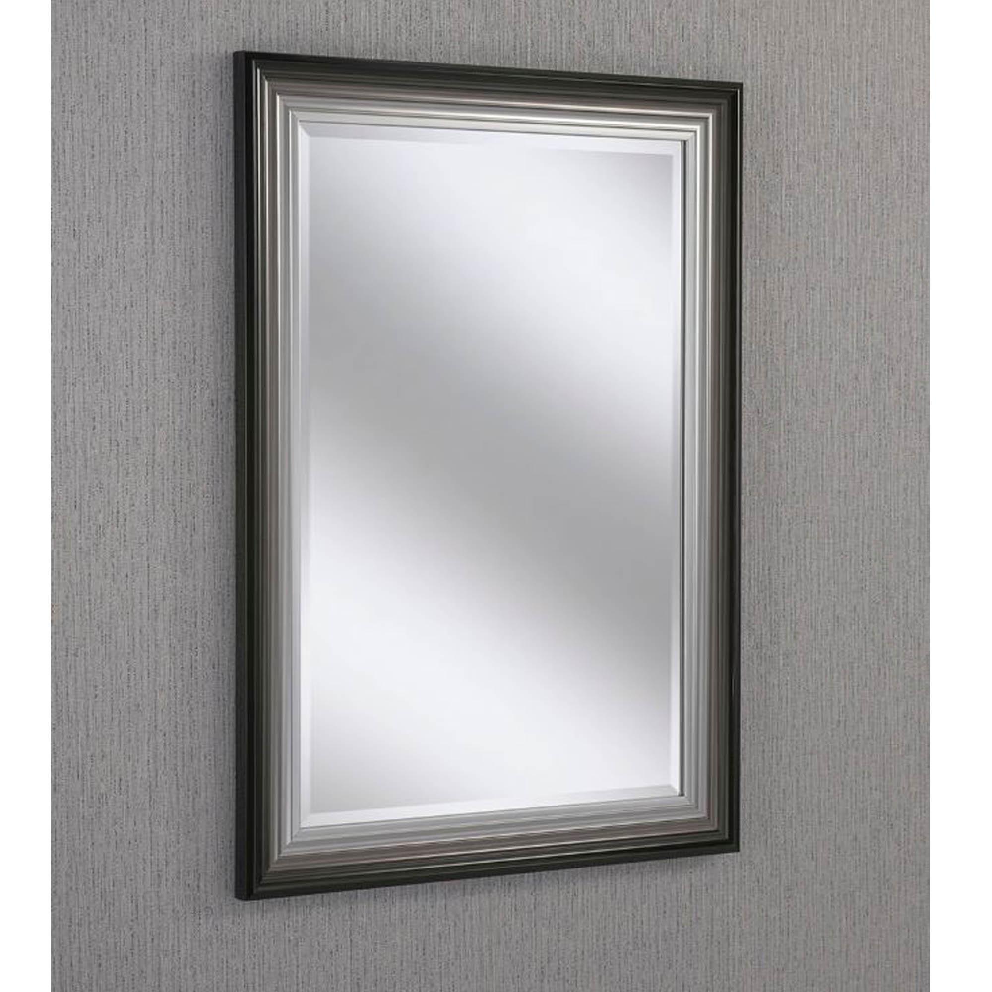 Rectangular Black Silver Beveled Contemporary Wall Mirror Hd365