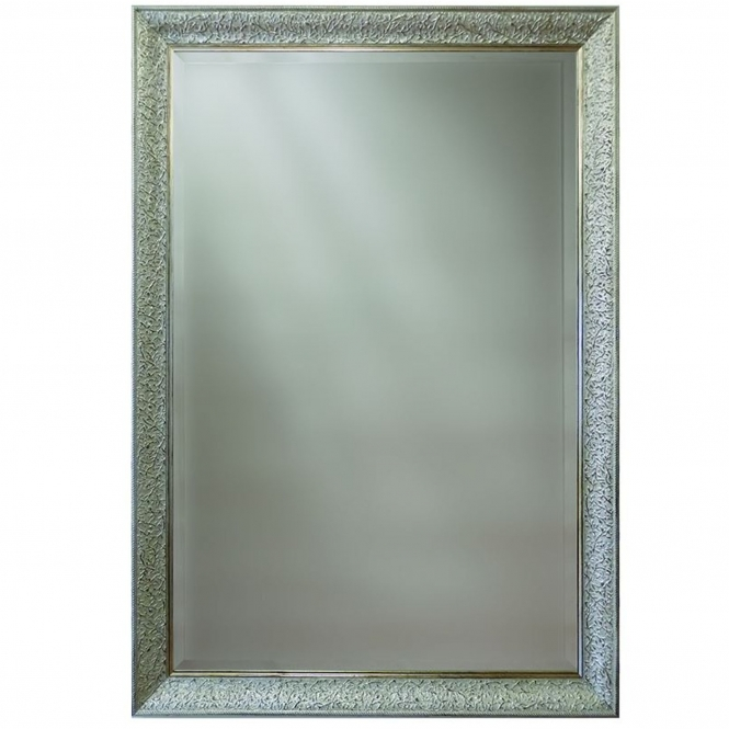 Rectangular Detailed Silver Wall Mirror