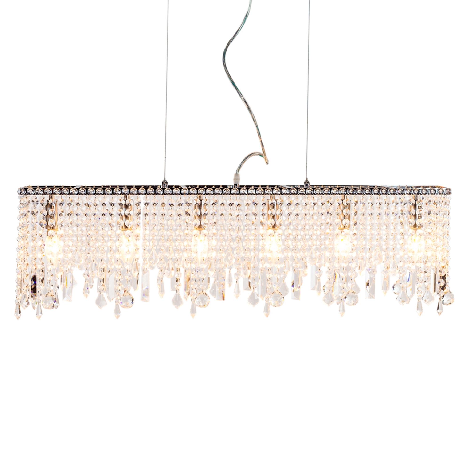 Rectangular waterfall crystal chandelier