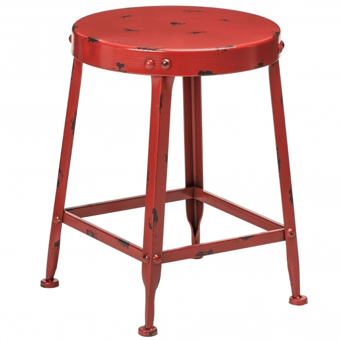 Red Artisan Stool