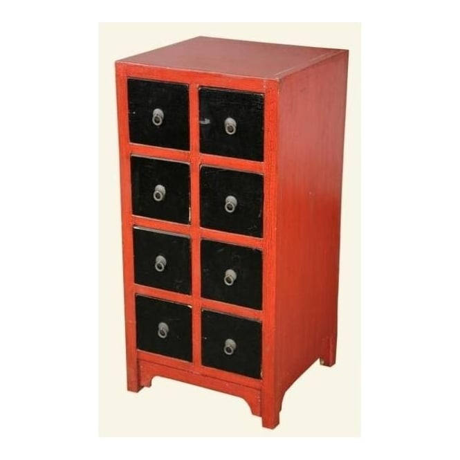 Red Black 8 Drawer Antique French Style Bedside Cabinet