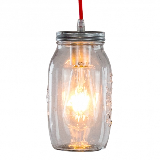 Red Flex Silver Jam Jar Pendant Light