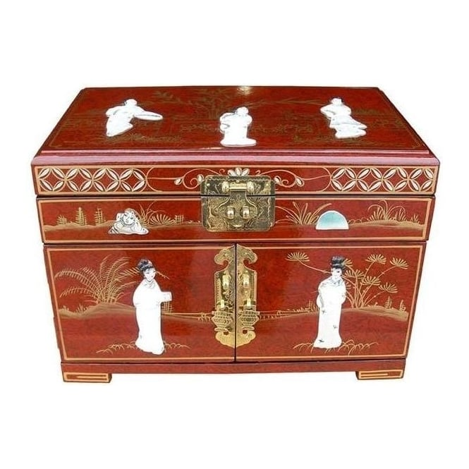 Red Lacquer Jewellery Box with Chinese Lock
