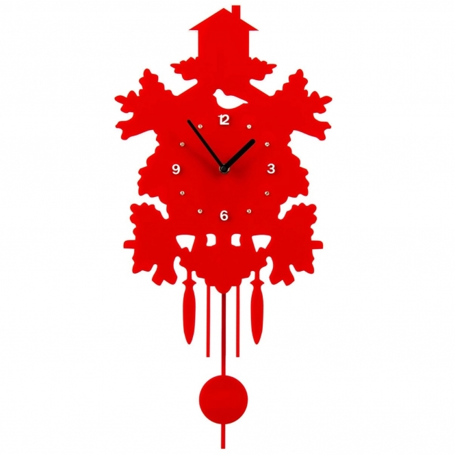 Red Pendulum Wall Clock