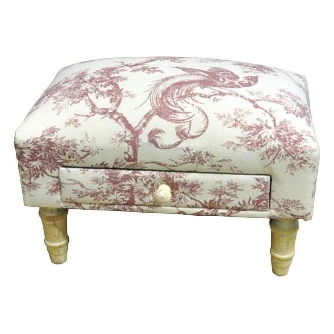 Red Pheasant Fabric Footstool