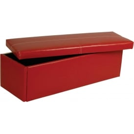 Red Stanton Faux Leather Ottoman