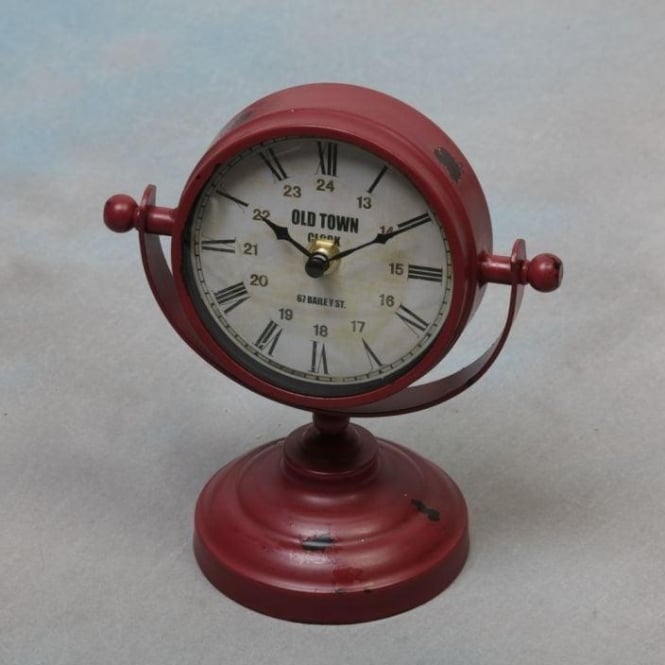 Red Vintage Metal Shabby Chic Clock