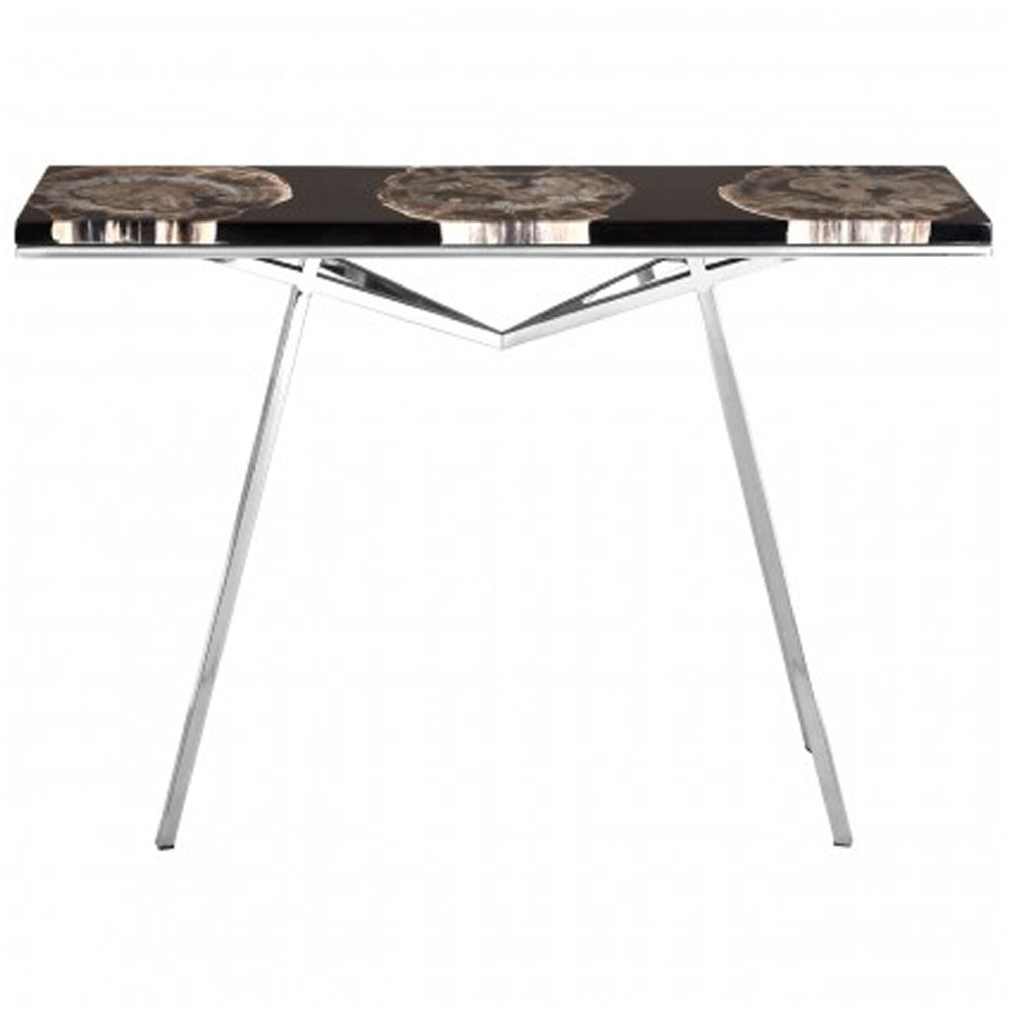classic fit 45fa2 79803 Relic Black Resin/Silver Legs Console Table
