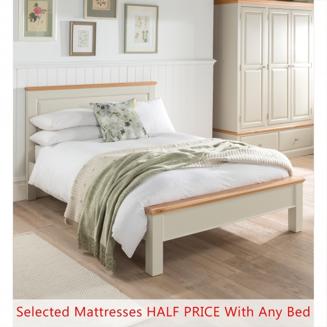 Remi Shabby Chic Bed (Size: Double) + Mattress - Bundle Deal