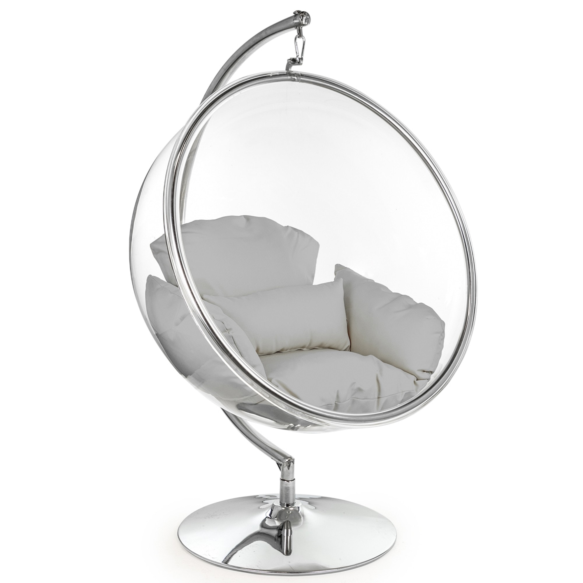 Retro Hanging Bubble Chair On Steel Base With Grey Cushion Bubble Chair Retro Chair