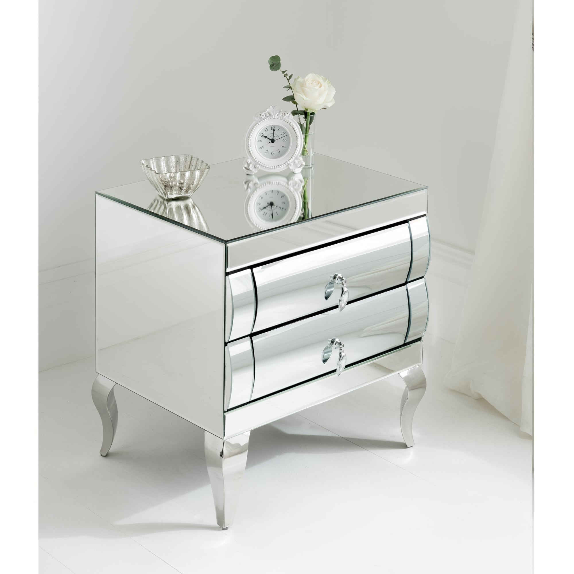 Rimini Mirrored Bedside 2 Drawer