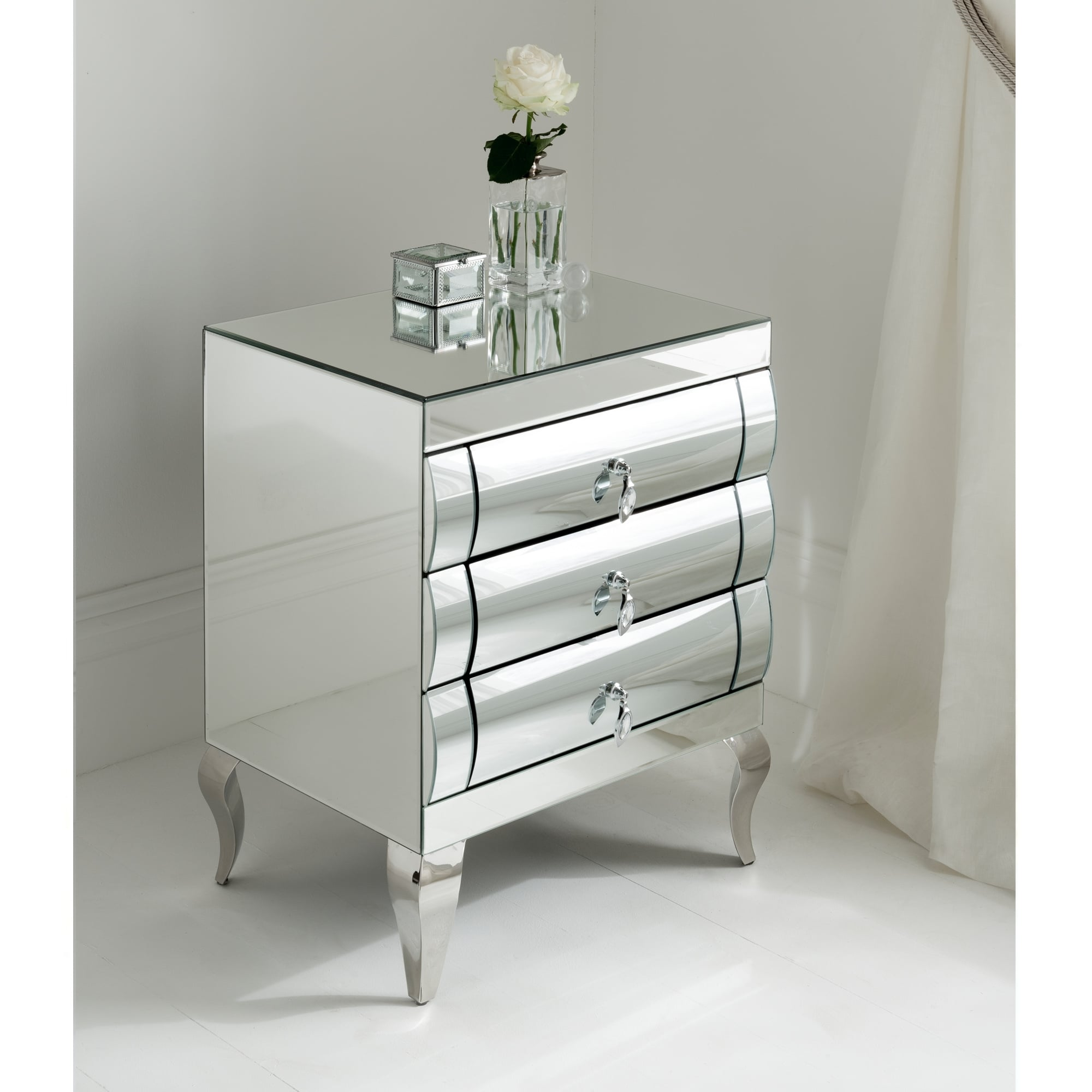 rimini mirrored bedside 3 drawer