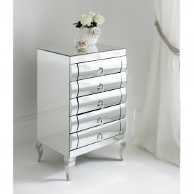 Rimini Mirrored Tallboy 5 Drawer