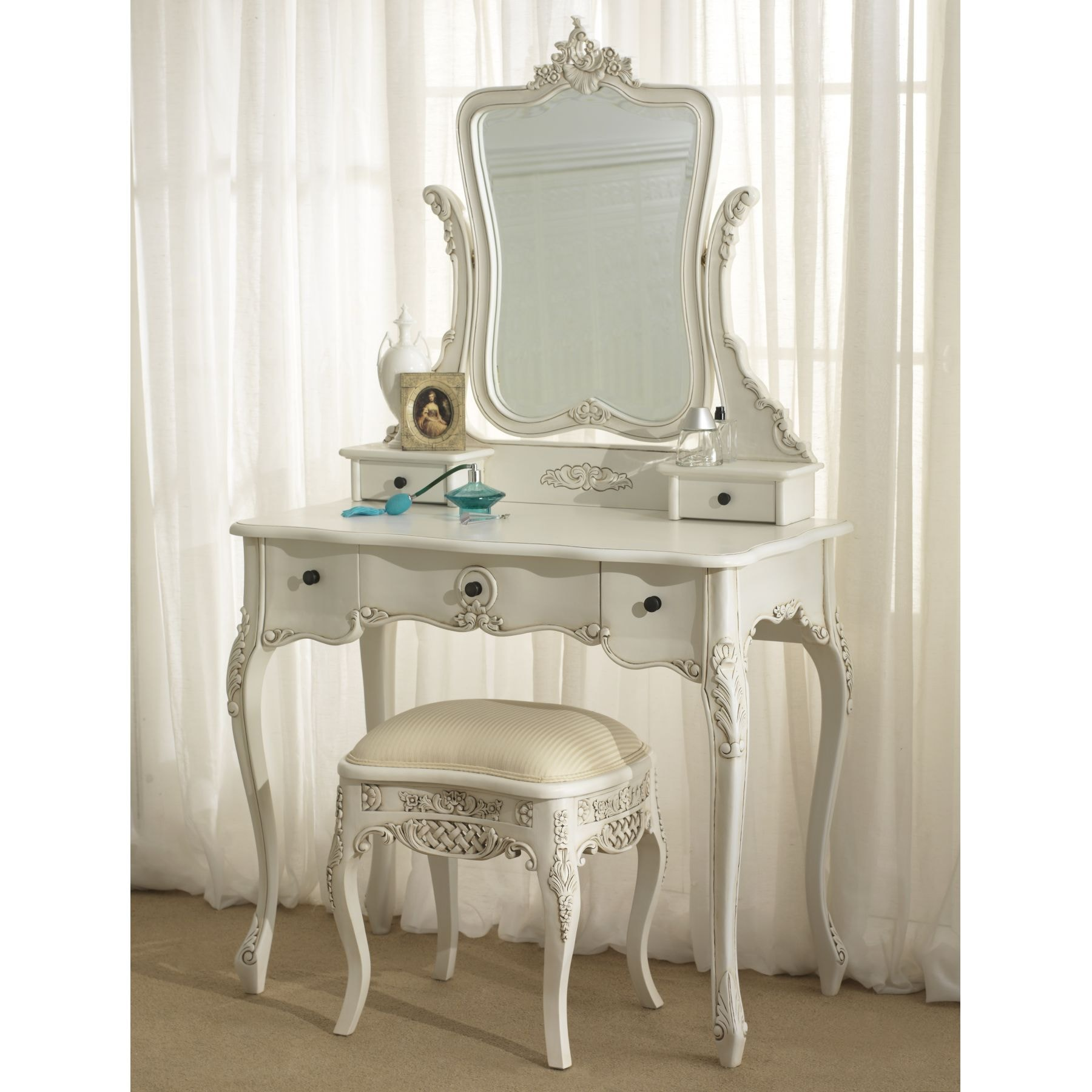 La rochelle antique french dressing table set for White dressing table for sale