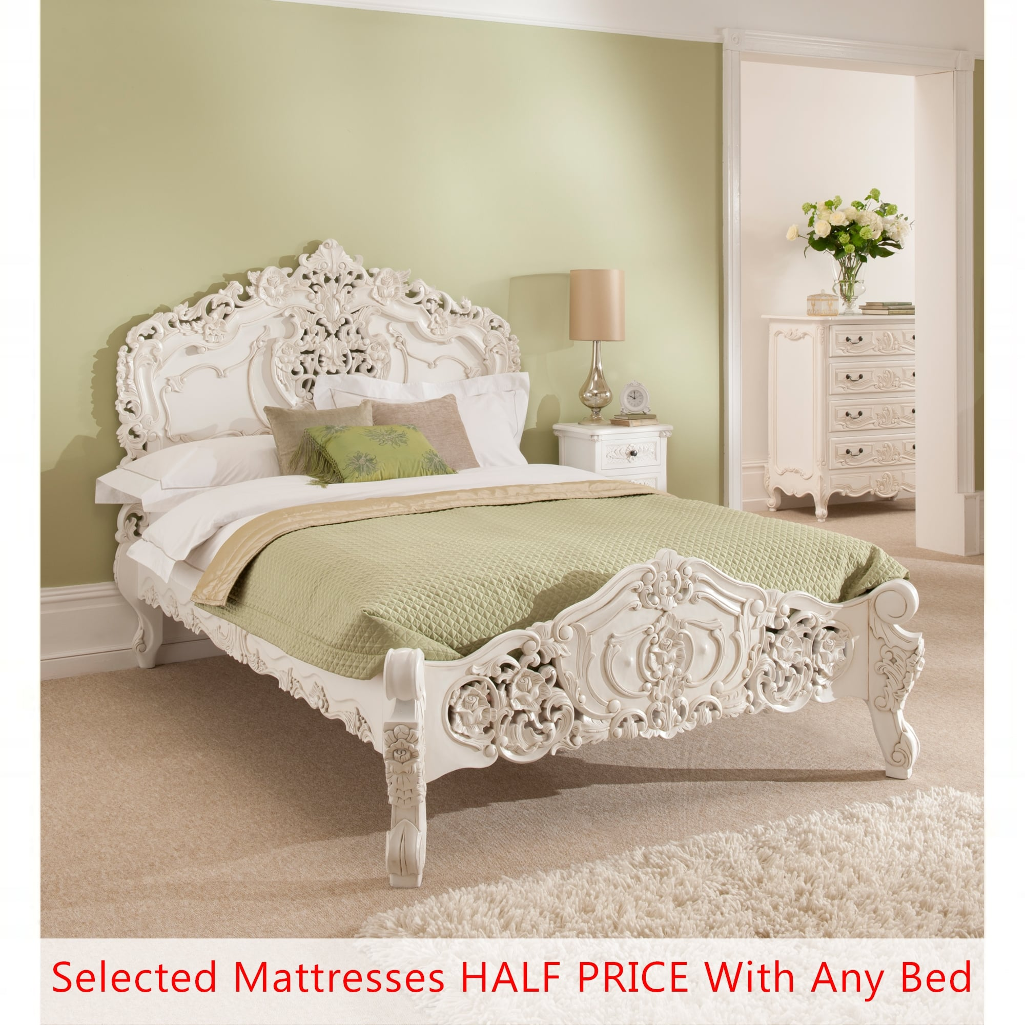 Rococo antique french style bed Bed and mattress deals
