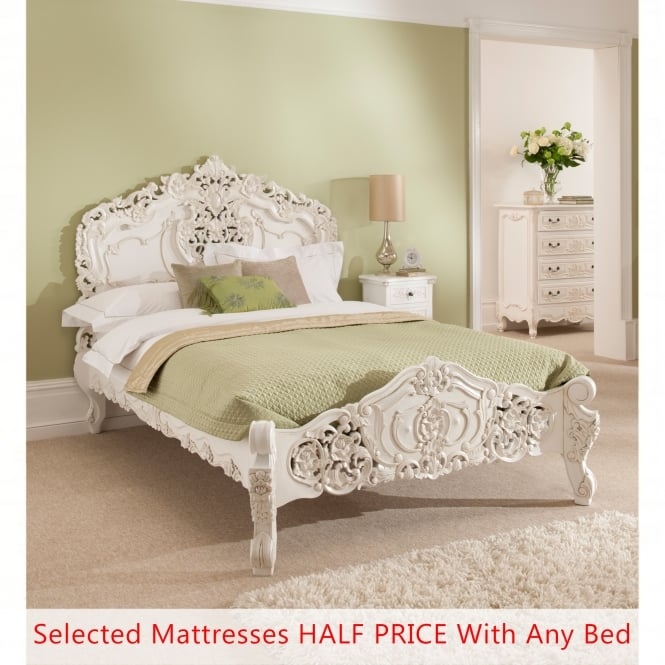 Rococo Antique French Bed (Size: Kingsize) + Mattress - Bundle Deal