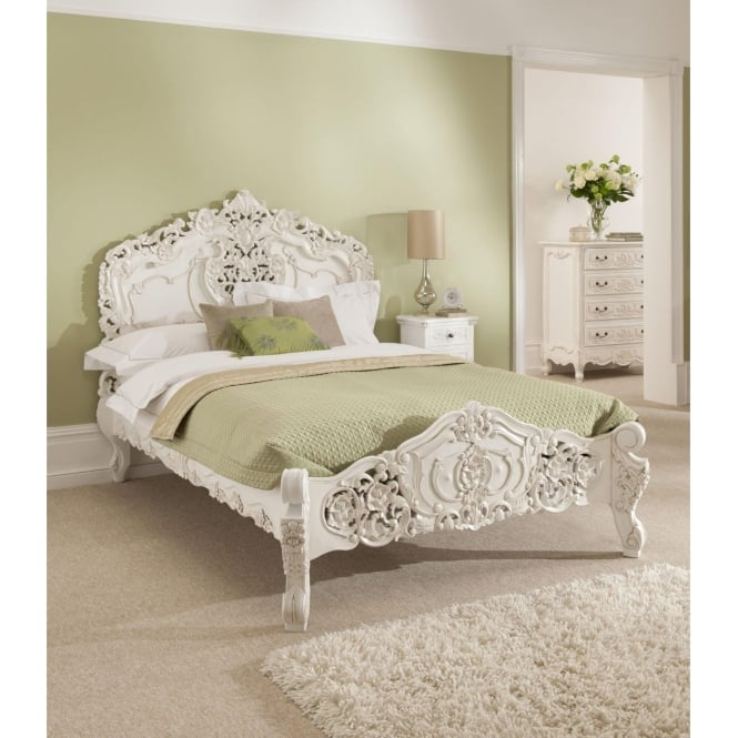 Rococo Antique French Bed (Size: Kingsize) + Rococo Antique French Chest Of Drawers + Rococo Antique French Dressing Table + Rococo Antique French Bedside + Roccoco Antique French Wardrobe (Size: Large) - Bundle Deal